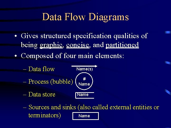 Data Flow Diagrams • Gives structured specification qualities of being graphic, concise, and partitioned