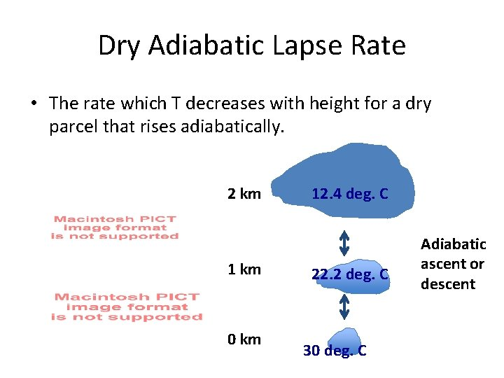 Dry Adiabatic Lapse Rate • The rate which T decreases with height for a