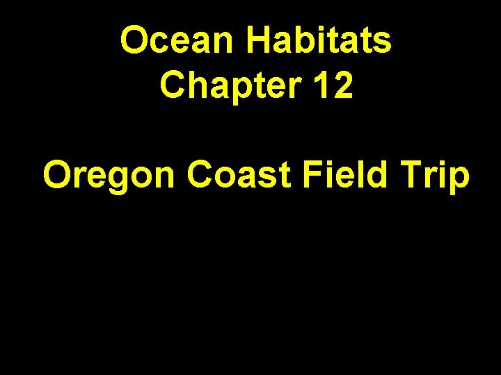 Ocean Habitats Chapter 12 Oregon Coast Field Trip
