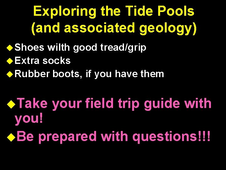Exploring the Tide Pools (and associated geology) Shoes wilth good tread/grip Extra socks Rubber
