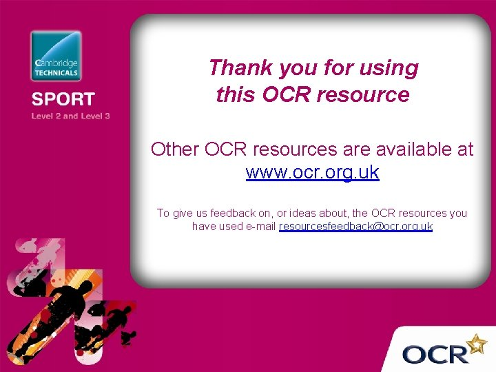 Thank you for using this OCR resource Other OCR resources are available at www.