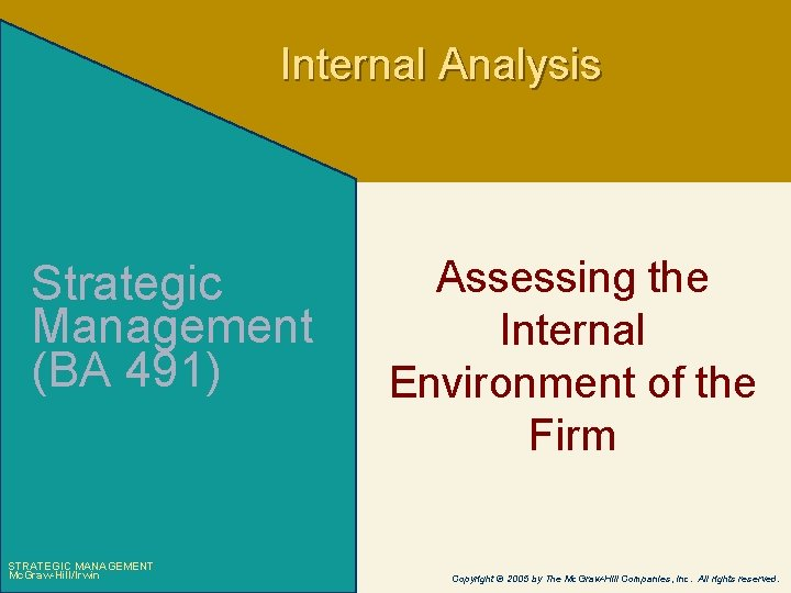 Internal Analysis Strategic Management (BA 491) STRATEGIC MANAGEMENT Mc. Graw-Hill/Irwin Assessing the Internal Environment