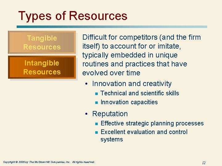 Types of Resources Tangible Resources Intangible Resources Difficult for competitors (and the firm itself)
