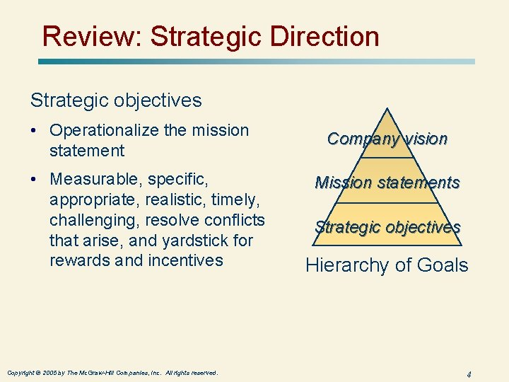 Review: Strategic Direction Strategic objectives • Operationalize the mission statement • Measurable, specific, appropriate,
