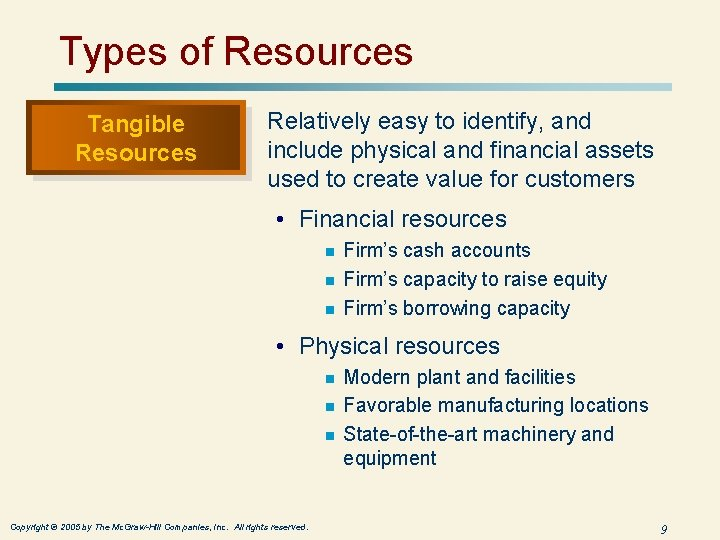 Types of Resources Tangible Resources Relatively easy to identify, and include physical and financial