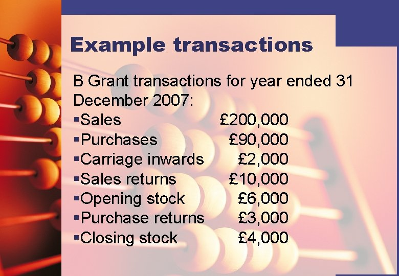 Example transactions B Grant transactions for year ended 31 December 2007: §Sales £ 200,