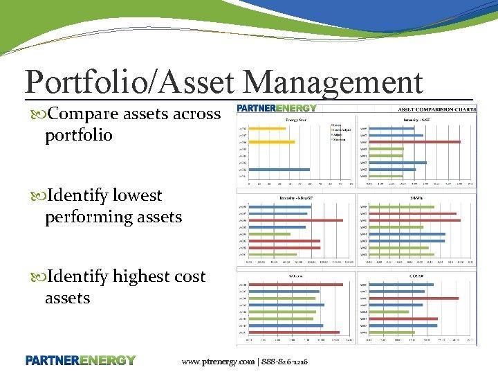 Portfolio/Asset Management Compare assets across portfolio Identify lowest performing assets Identify highest cost assets