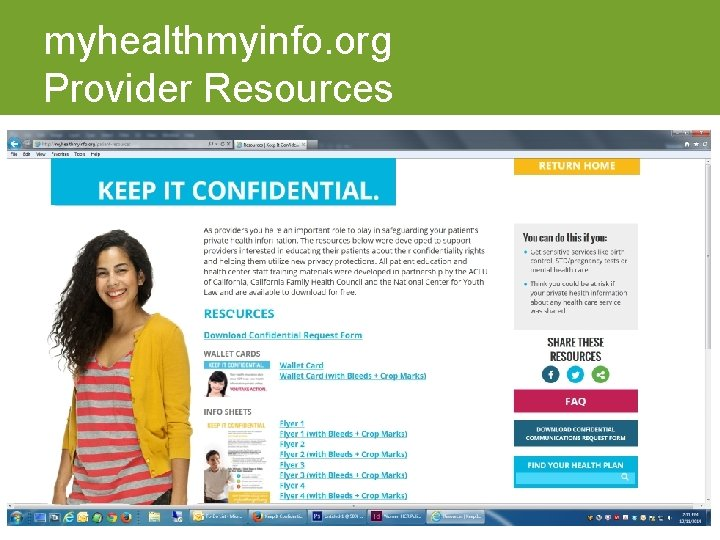 myhealthmyinfo. org Provider Resources
