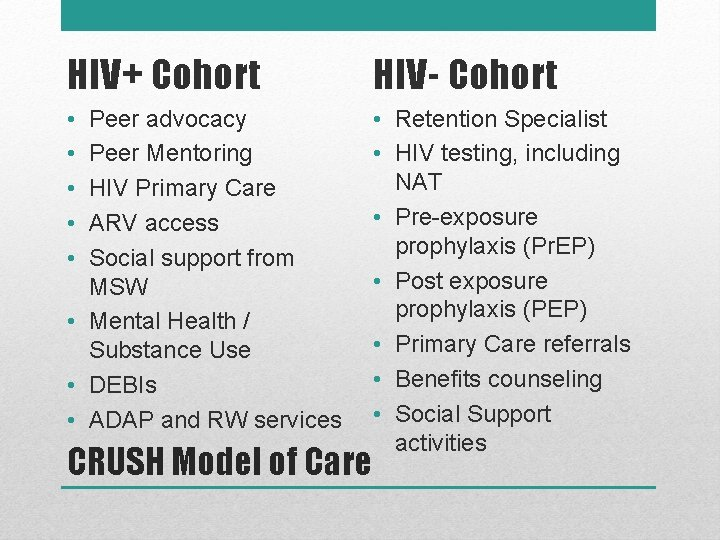 HIV+ Cohort HIV- Cohort • • • Retention Specialist • HIV testing, including NAT