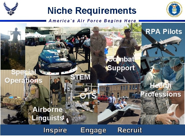 Niche Requirements America's Air Force Begins Here RPA Pilots Combat Support Special Operations STEM