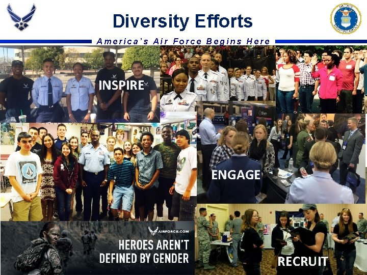 Diversity Efforts America's Air Force Begins Here INSPIRE ENGAGE RECRUIT