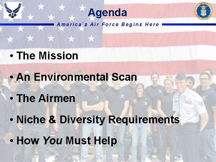 Agenda America's Air Force Begins Here • The Mission • An Environmental Scan •