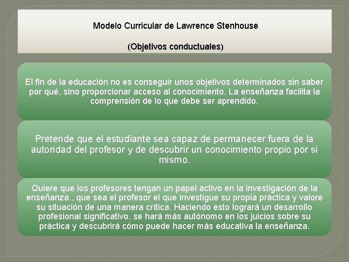 Modelo Curricular de Lawrence Stenhouse (Objetivos conductuales) El fin de la educación no es
