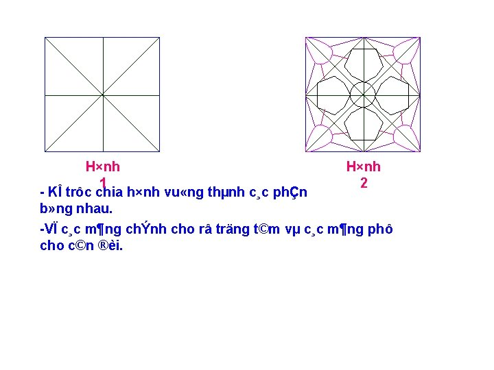 H×nh 1 2 KÎ trôc chia h×nh vu «ng thµnh c¸c phÇn b» ng