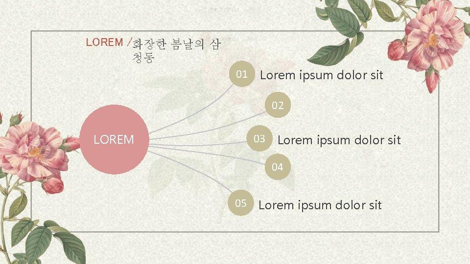 LOREM /화장한 봄날의 삼 청동 01 Lorem ipsum dolor sit 02 03 LOREM Lorem