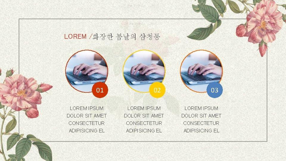 LOREM /화장한 봄날의 삼청동 01 02 03 LOREM IPSUM DOLOR SIT AMET CONSECTETUR ADIPISICING