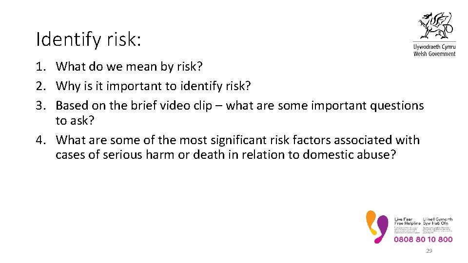 Identify risk: 1. What do we mean by risk? 2. Why is it important
