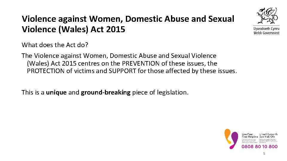 Violence against Women, Domestic Abuse and Sexual Violence (Wales) Act 2015 What does the