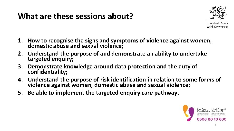 What are these sessions about? 1. How to recognise the signs and symptoms of