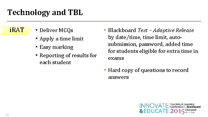 Technology and TBL i. RAT • • Deliver MCQs Apply a time limit Easy