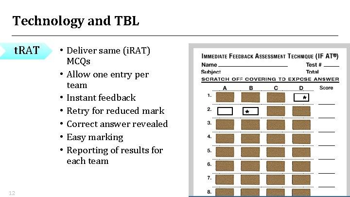 Technology and TBL t. RAT 12 • Deliver same (i. RAT) MCQs • Allow