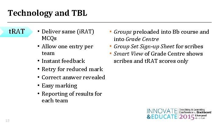 Technology and TBL t. RAT 13 • Deliver same (i. RAT) • Groups preloaded