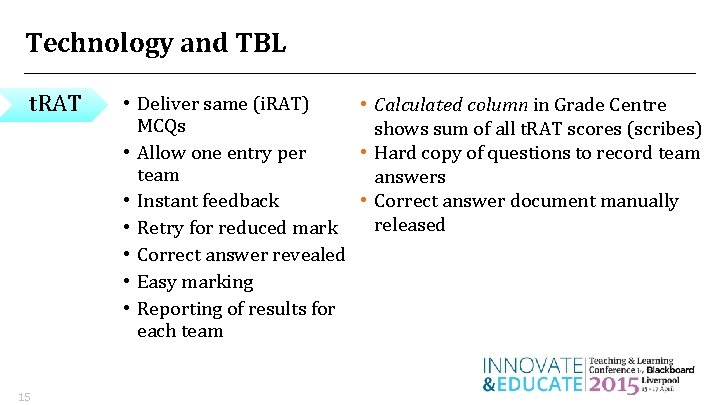 Technology and TBL t. RAT 15 • Deliver same (i. RAT) • Calculated column