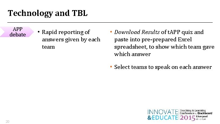 Technology and TBL APP debate • Rapid reporting of answers given by each team