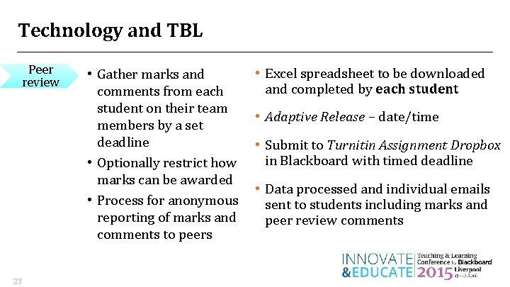 Technology and TBL Peer review 23 • Gather marks and comments from each student