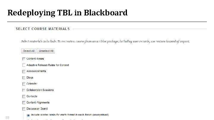 Redeploying TBL in Blackboard 33