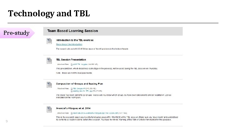 Technology and TBL Pre-study 9