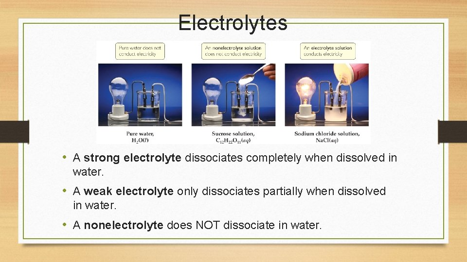 Electrolytes • A strong electrolyte dissociates completely when dissolved in water. • A weak