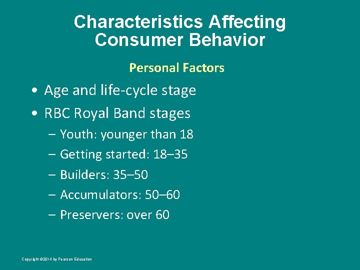 Characteristics Affecting Consumer Behavior Personal Factors • Age and life-cycle stage • RBC Royal