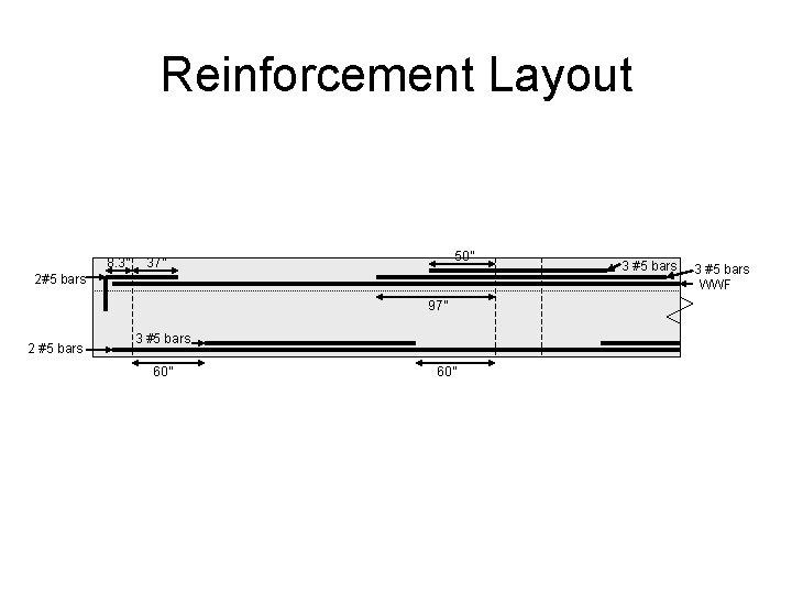 "Reinforcement Layout 8. 3"" 50"" 37"" 2#5 bars 97"" 2 #5 bars 3 #5"