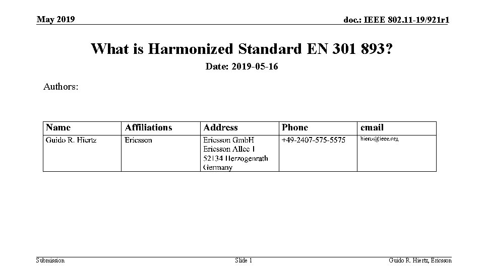 May 2019 doc. : IEEE 802. 11 -19/921 r 1 What is Harmonized Standard