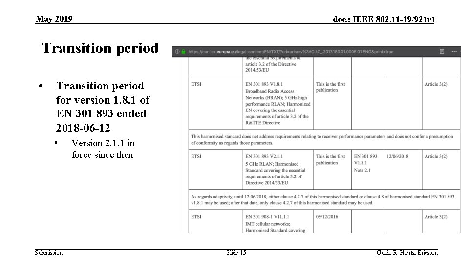 May 2019 doc. : IEEE 802. 11 -19/921 r 1 Transition period • Transition