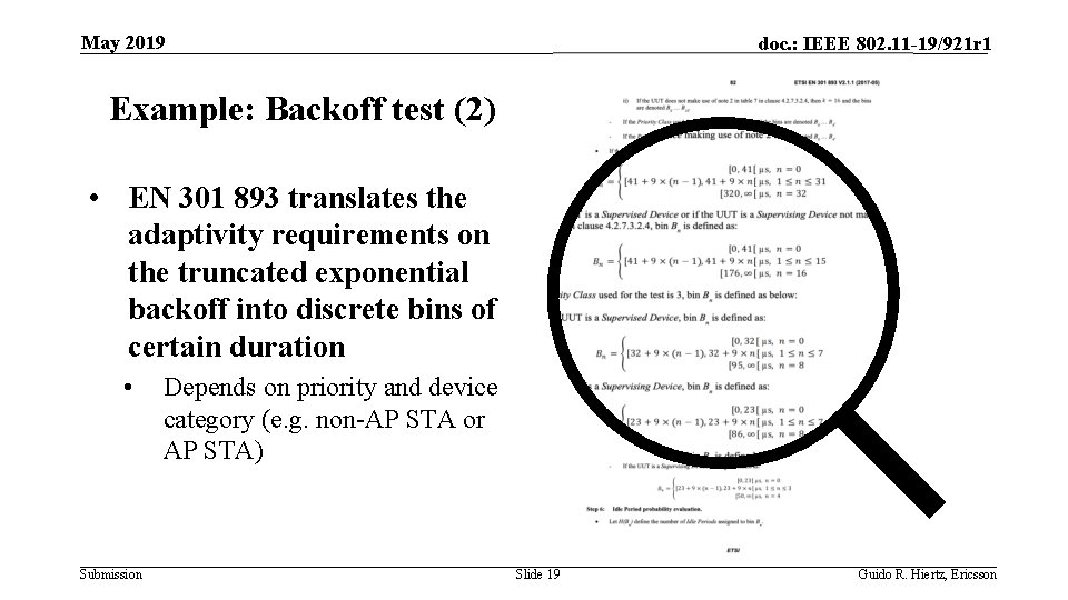 May 2019 doc. : IEEE 802. 11 -19/921 r 1 Example: Backoff test (2)