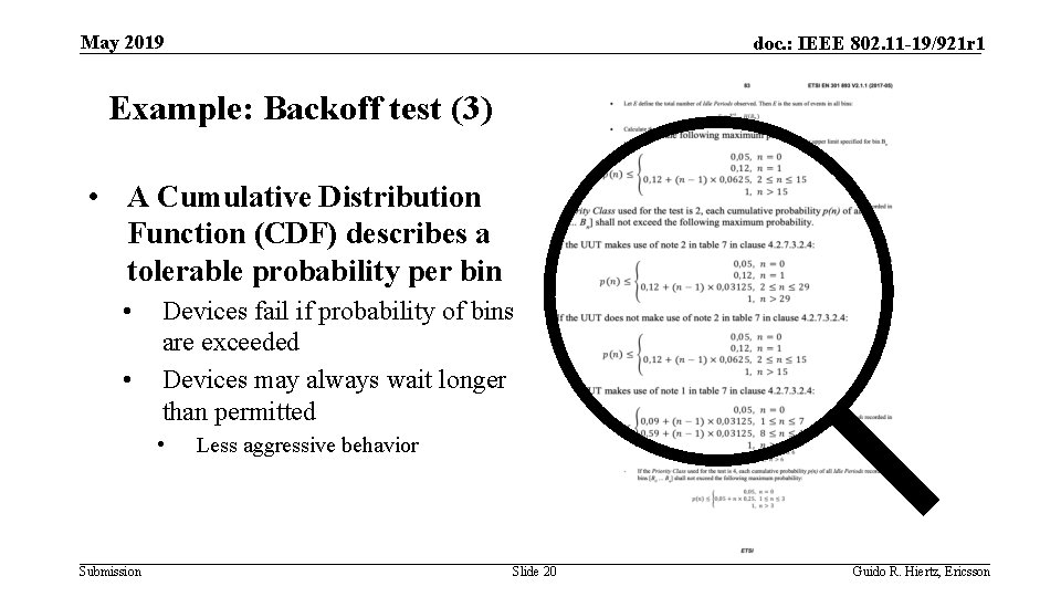 May 2019 doc. : IEEE 802. 11 -19/921 r 1 Example: Backoff test (3)