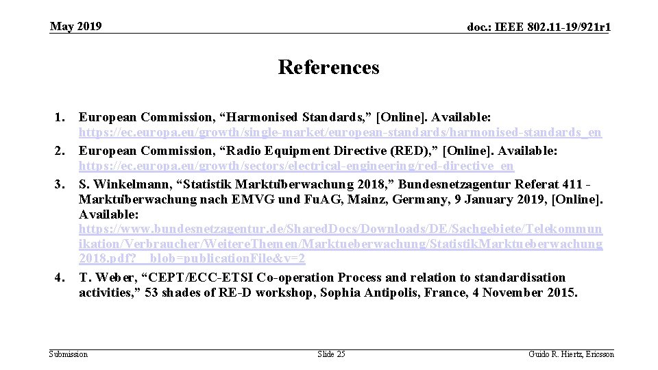 May 2019 doc. : IEEE 802. 11 -19/921 r 1 References 1. 2. 3.