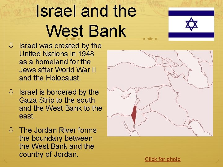 Israel and the West Bank Israel was created by the United Nations in 1948