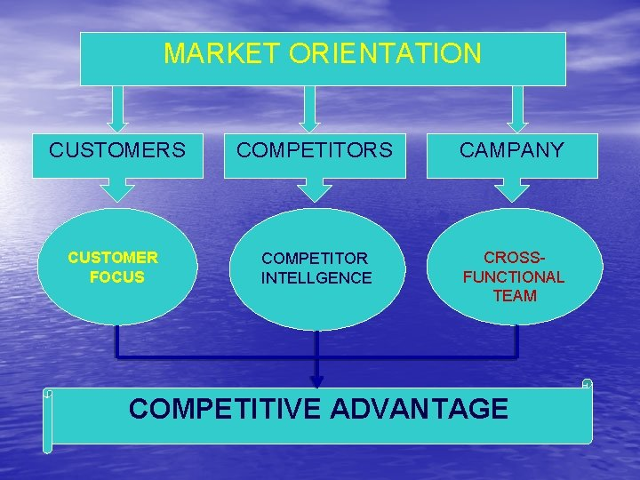 MARKET ORIENTATION CUSTOMERS COMPETITORS CAMPANY CUSTOMER FOCUS COMPETITOR INTELLGENCE CROSSFUNCTIONAL TEAM COMPETITIVE ADVANTAGE