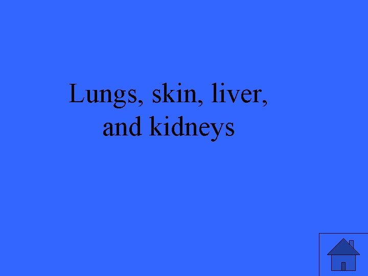 Lungs, skin, liver, and kidneys