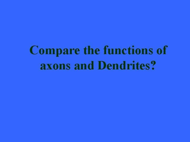 Compare the functions of axons and Dendrites?