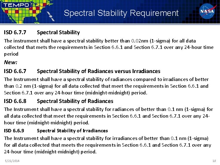 Spectral Stability Requirement ISD 6. 7. 7 Spectral Stability The instrument shall have a