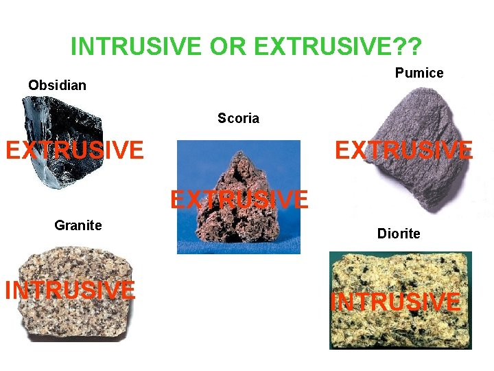INTRUSIVE OR EXTRUSIVE? ? Pumice Obsidian Scoria EXTRUSIVE Granite INTRUSIVE Diorite INTRUSIVE