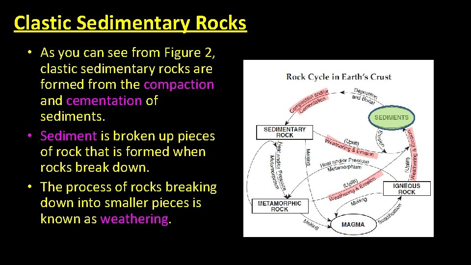 Clastic Sedimentary Rocks • As you can see from Figure 2, clastic sedimentary rocks