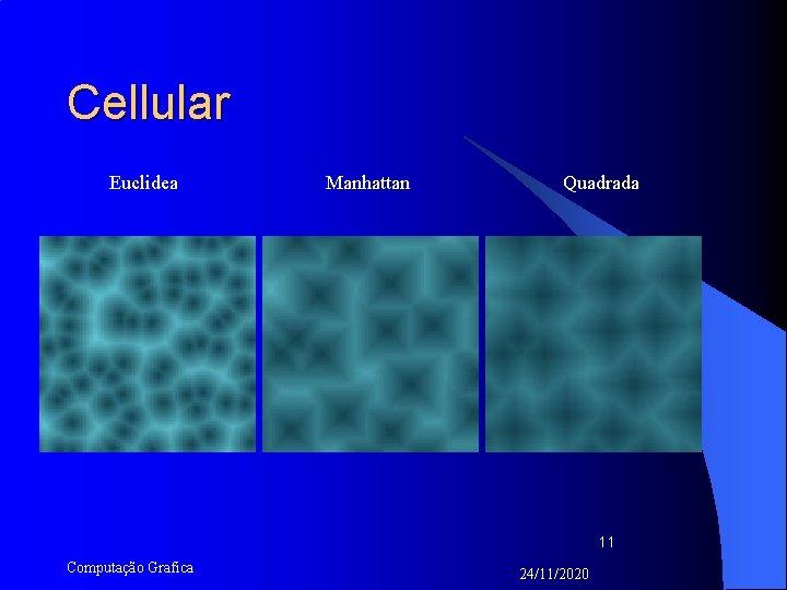 Cellular Euclidea Manhattan Quadrada 11 Computação Grafica 24/11/2020