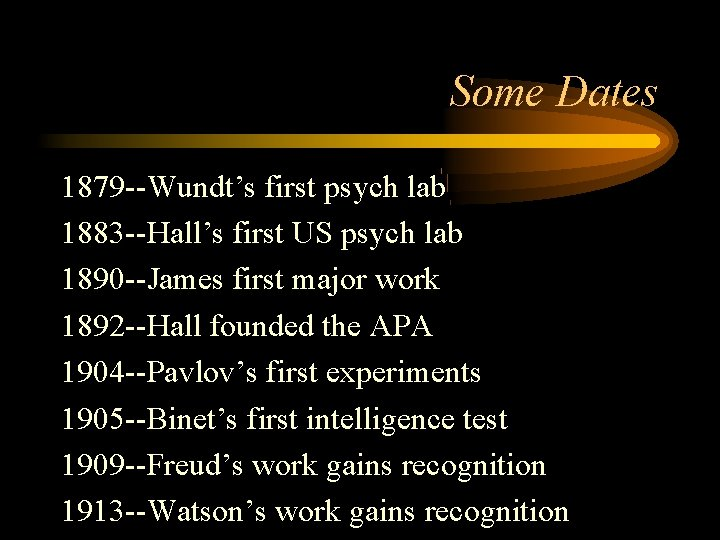 Some Dates 1879 --Wundt's first psych lab 1883 --Hall's first US psych lab 1890