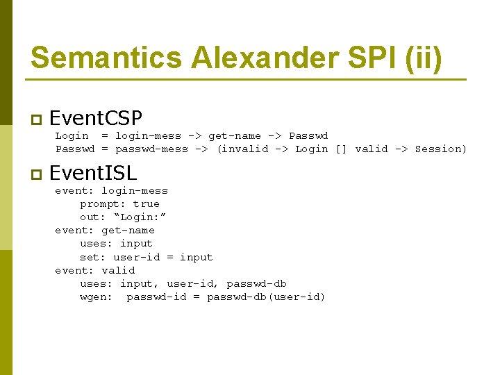 Semantics Alexander SPI (ii) p Event. CSP Login = login-mess -> get-name -> Passwd
