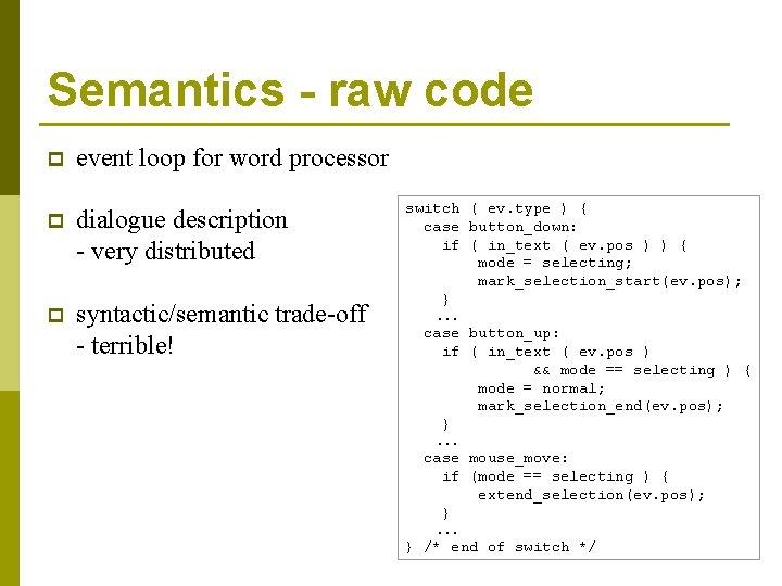 Semantics - raw code p event loop for word processor p dialogue description -